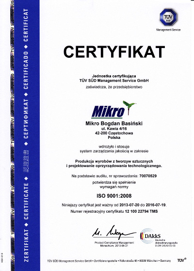 certificate ISO 9001:2008 - Mikro