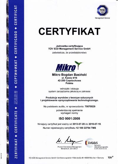 certyfikat ISO 9001:2008 - Mikro