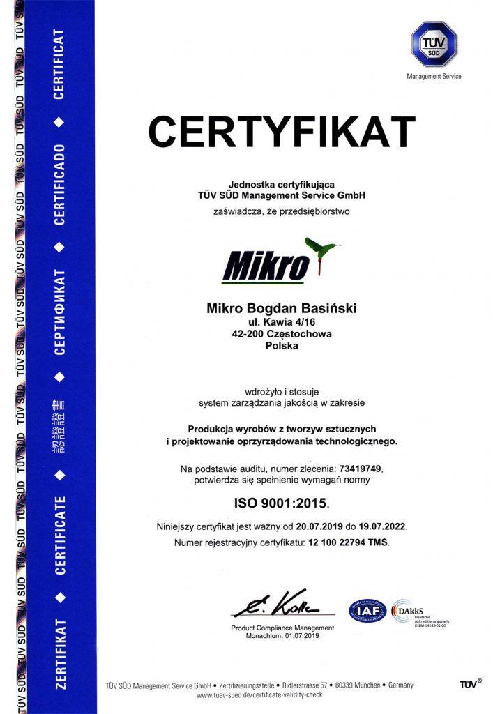 Certyfikat ISO9001:2015 - Mikro